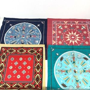 Lot Of 4 Southwest Native Indian Aztec Bandanas